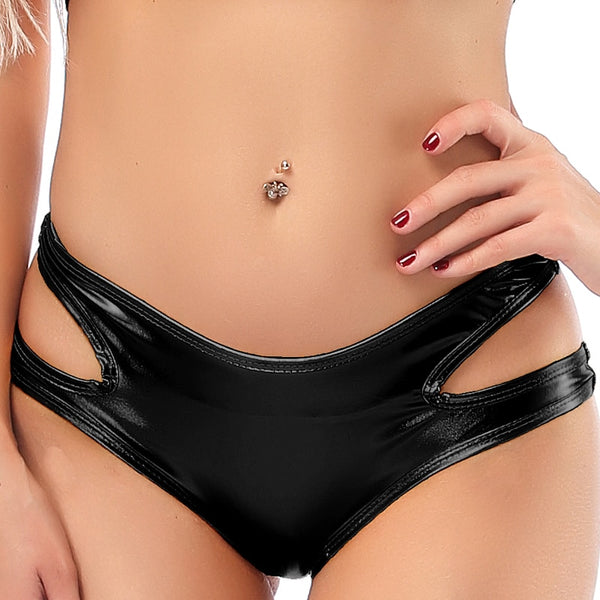 Candy Color PU Patent Leather Hot Women Hollow Out Boxer Glitter Pole Dance Booty Shorts Sexy Panties Low Waist Short Trousers - Modemoven