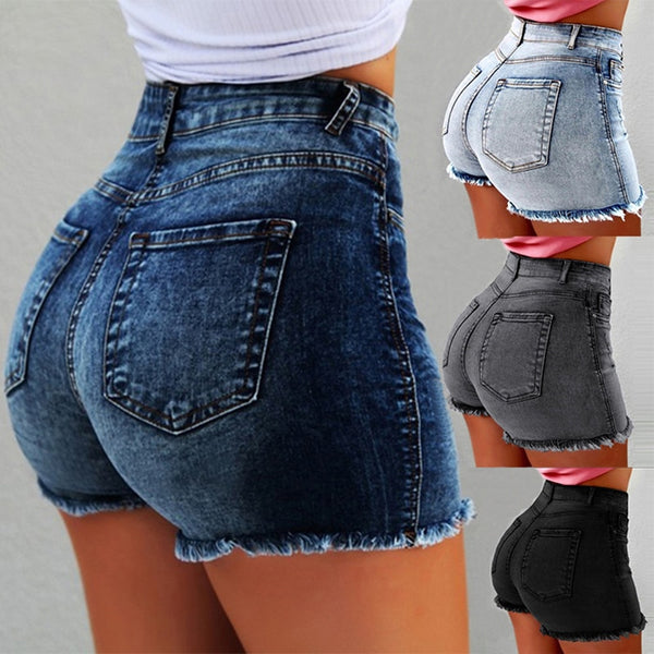 Fashion Women Summer High Waisted Denim Shorts Jeans Women Short 2019 New Femme Push Up Skinny Slim Denim Shorts - Modemoven