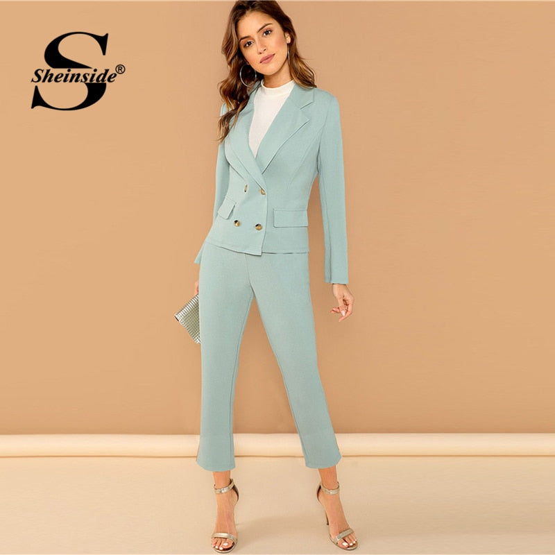 Sheinside Notched Collar Blazer And Pants Set Women Elegant Turquoise Double Breasted Blazer Set Office Ladies Solid 2 Piece Set - Modemoven