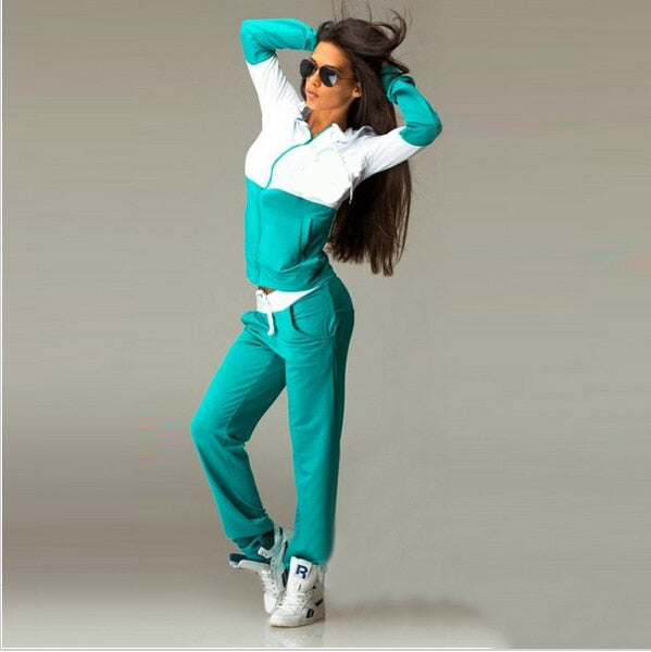 Patchwork Zipper lace up Suit Set 2019 Women Tracksuit Two-piece Sport Style Outfit Jogging Sweatshirt Fitness Lounge Sportwear - Modemoven