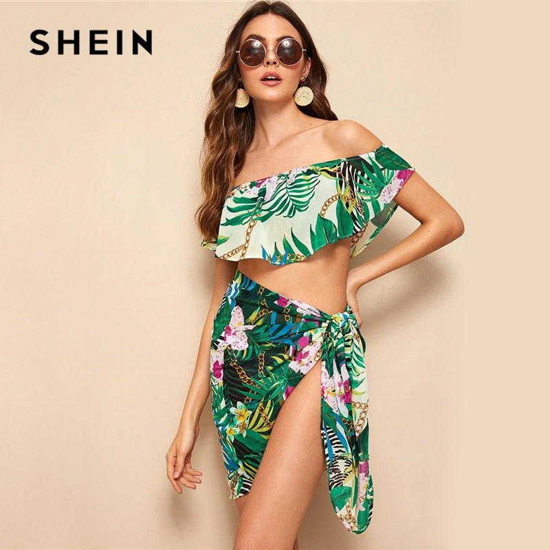 SHEIN Boho Multicolor Off Shoulder Foldover Tropical Crop Top and Tie Skirt Set Women Beach Style Vacation Sexy Two Piece Set - Modemoven