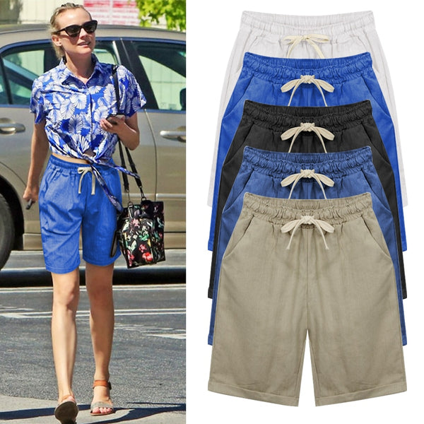 Female elastic waist drawstring loose casual short Solid Packets summer woman plus size women office beach short M 5XL 6XL - Modemoven