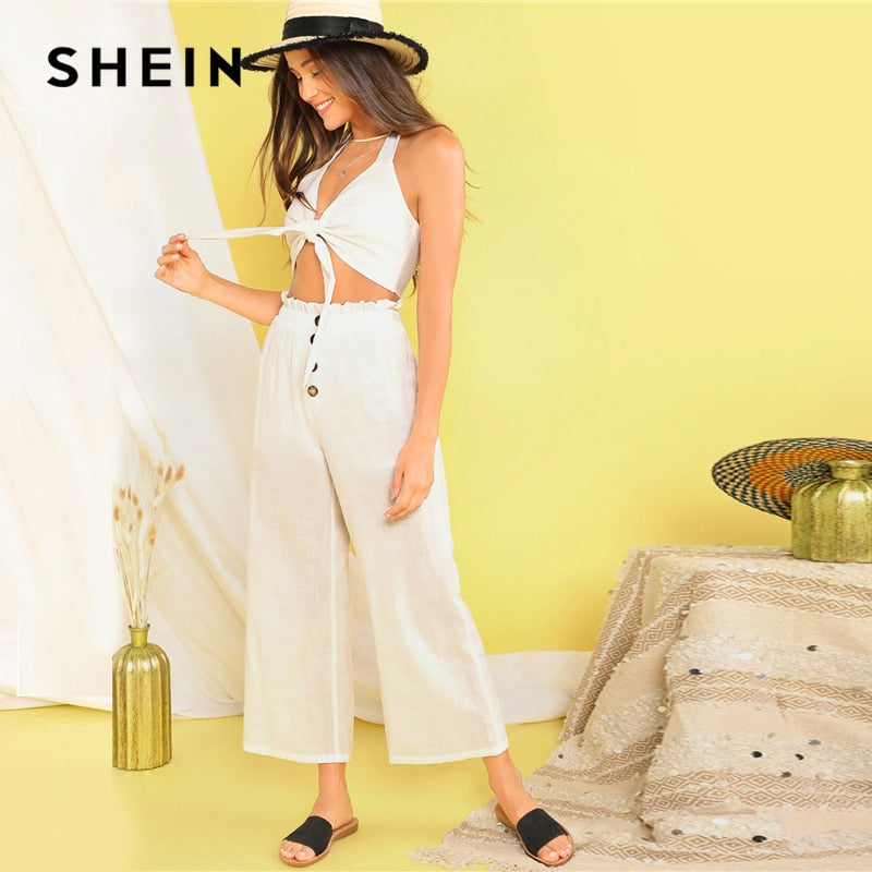 SHEIN White Tie Front Halter Knot Crop Top and Wide Leg Pants 2 Piece Set Women Summer Paperbag Waist Button Solid Two Piece Set - Modemoven