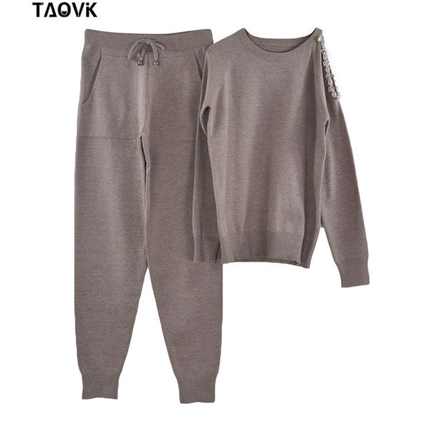 TAOVK sparkle diamonds open shoulder sweater Suits Top+Knitted pants two piece set female winter Costumes track suit for women - Modemoven
