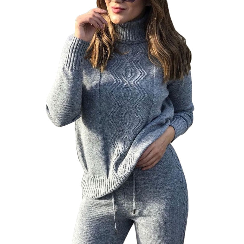 MVGIRLRU soft winter wool knitted Suits dense warm sweater suits turtleneck pullover tops loose pant 2 piece set female knitwear - Modemoven