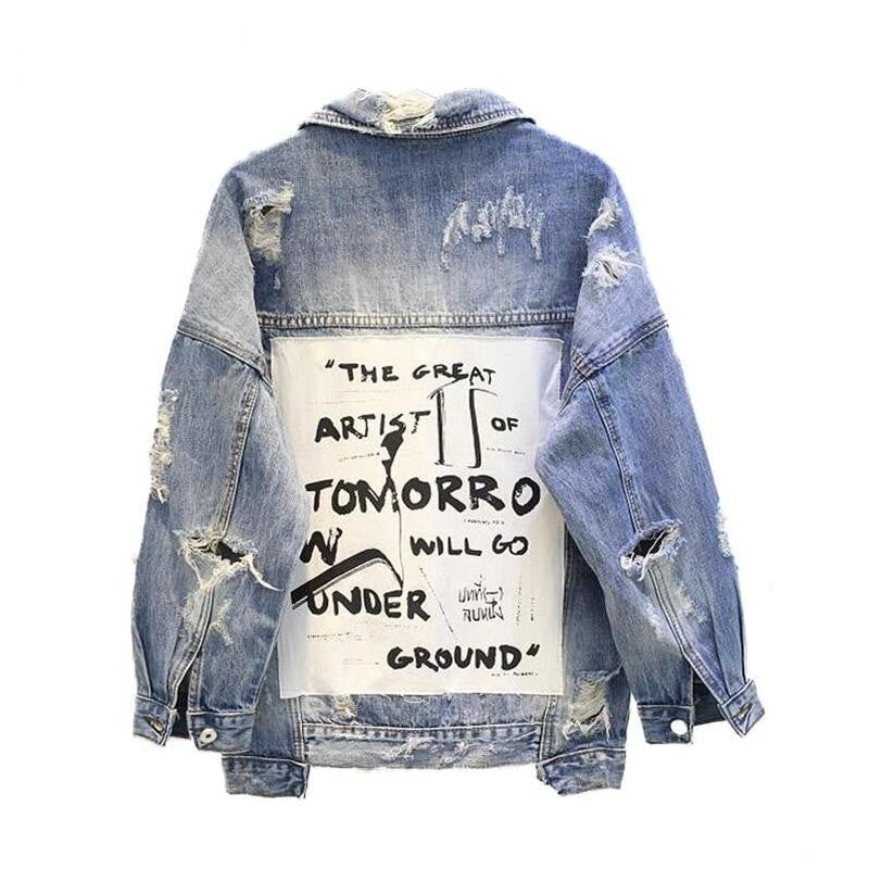 Basic Coat Bombers Vintage Fabric Patchwork Denim Jacket Women Cowboy Jeans 2019 Autumn Frayed Ripped Hole Jean Jacket - Modemoven