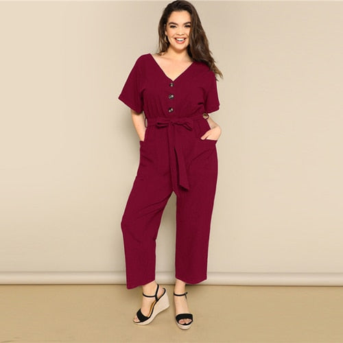 Plus Size Button Front Wide Leg Belted Jumpsuit 2019 Women Spring Summer Casual V Neck Short Sleeve Longline Jumpsuits - Modemoven