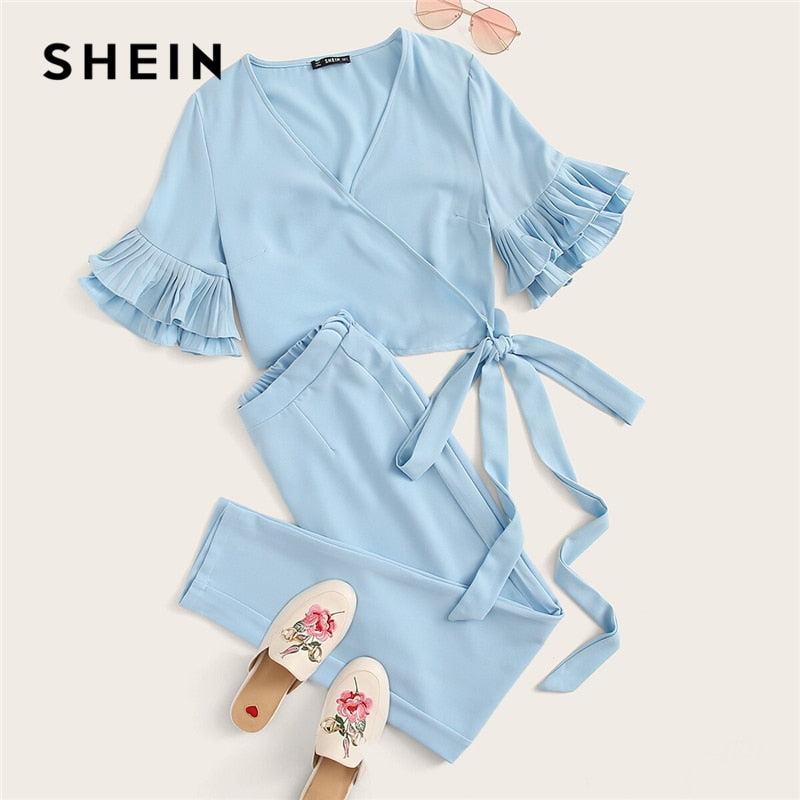 SHEIN Blue Surplice Wrap Layered Ruffle Sleeve Knotted Crop Top and Pants Set 2 Piece Set Women Autumn Abaya Sexy Two Piece Set - Modemoven
