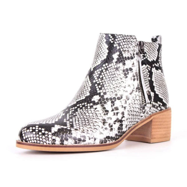 Modemoven Snake Leather Ankle Boots - Modemoven