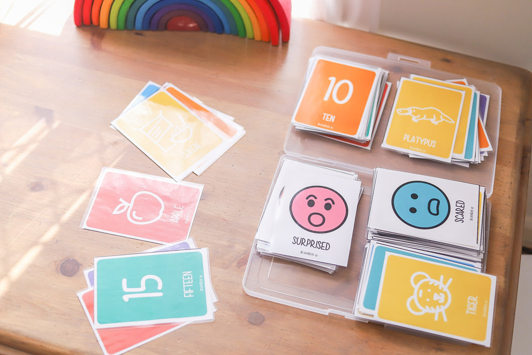 Alphabet, Numbers and Colours Flash Cards