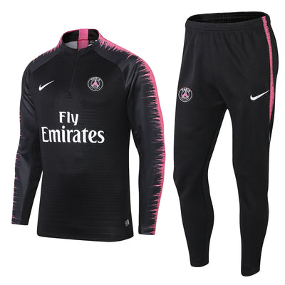 PSG Black Tracksuit Pink printed sleeves 2018/2019