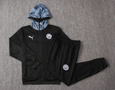 Manchester City 2019/20 Hoodie Suit Black on Blue HOOD