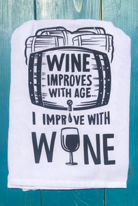 Wine improves with age tea towel