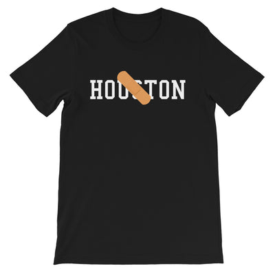 Black short sleeve t-shirt with Houston written on front covered by bandaid image