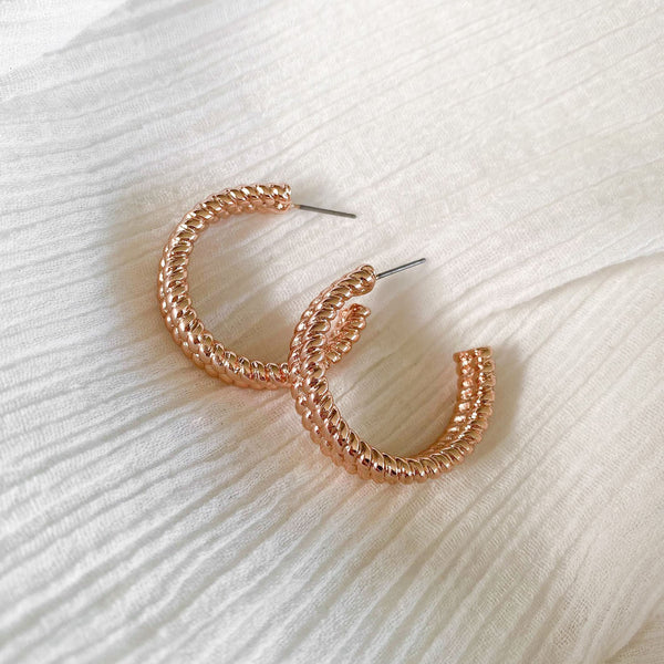 Twist Hoops - rose gold