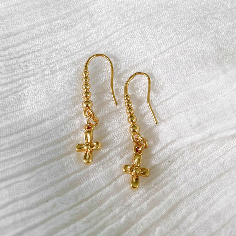 Cross Hook Earrings - gold