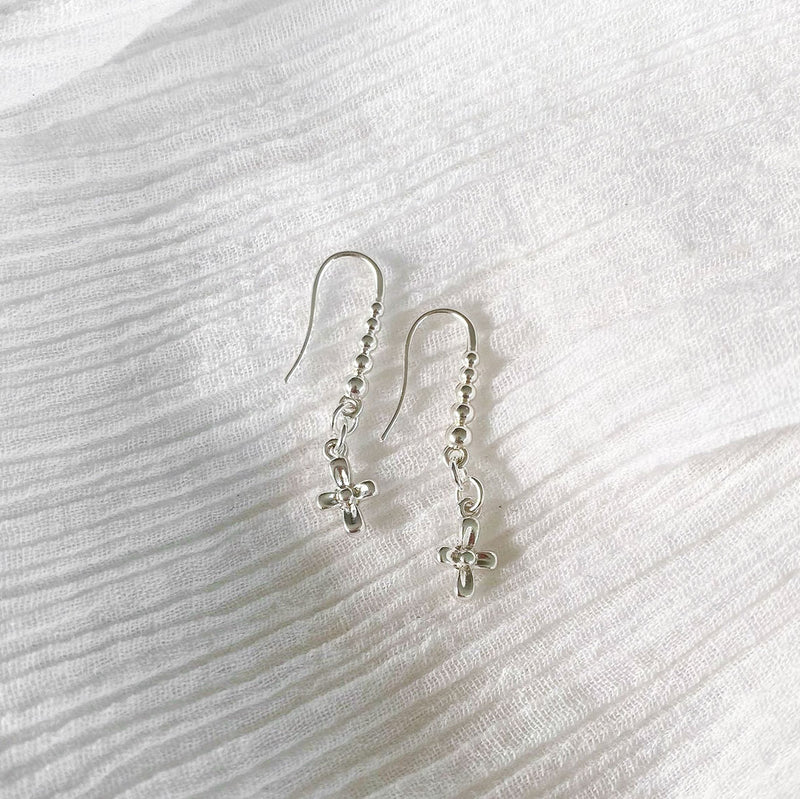 Cross Hook Earring - silver