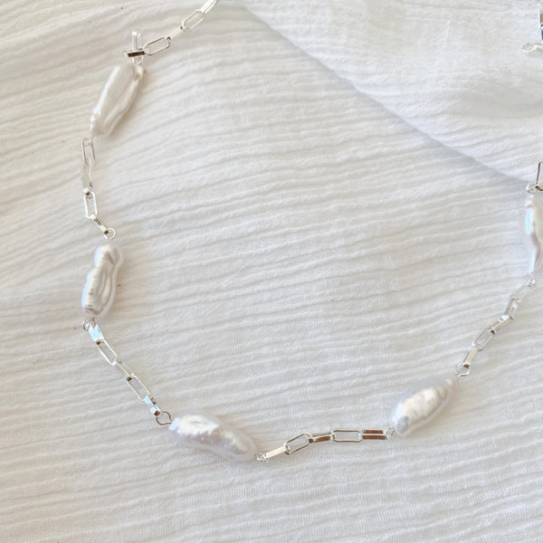 Pearl Link Chain Necklace - silver