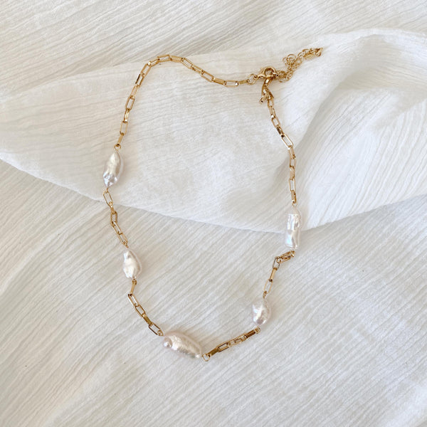 Pearl Link Chain Necklace - gold