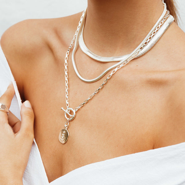 Olive Chain - thin - silver