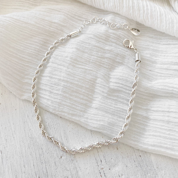 Rope Chain Anklet - silver