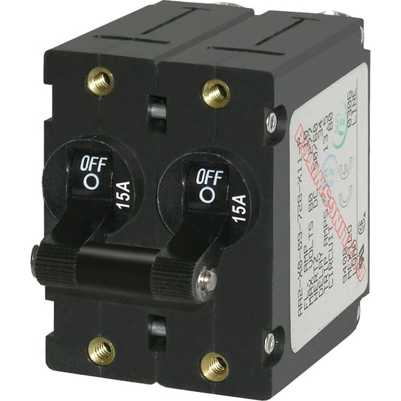 Blue Sea 7234 A-Series Double Pole Toggle - 15A - Black [7234] - Point Supplies Inc.