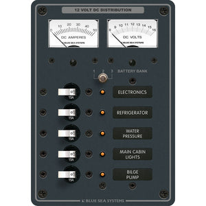 Blue Sea 8081 DC 5 Position Toggle Branch Circuit Breaker Panel - White Switches [8081] - Point Supplies Inc.