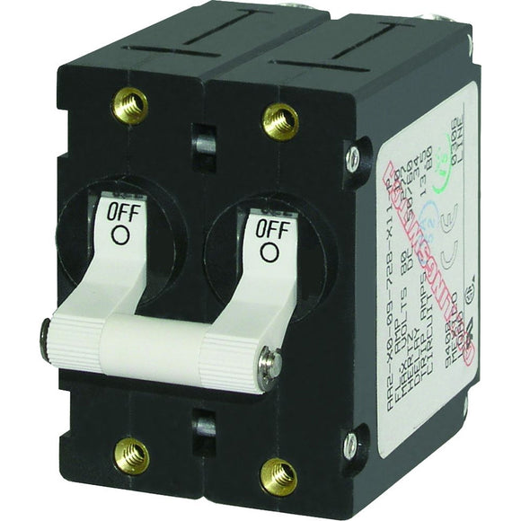 Blue Sea 7233 A-Series Double Pole Toggle - 10AMP - White [7233] - Point Supplies Inc.