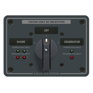 Blue Sea AC Rotary Switch Panel 65AMP - 2 Positions + OFF - 4 Pole [8369] - Point Supplies Inc.