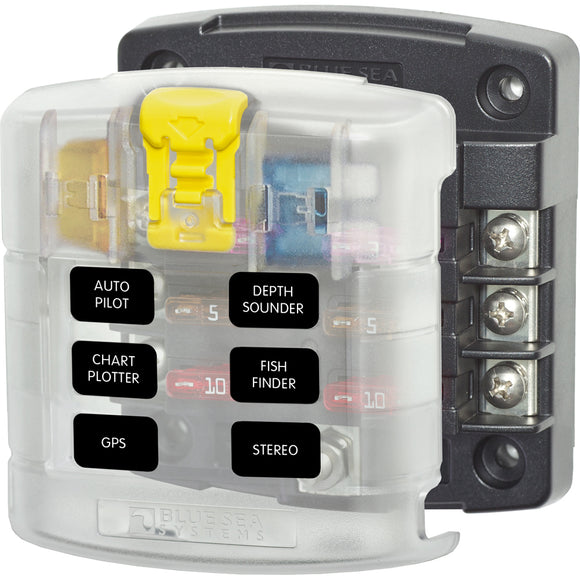 Blue Sea 5028 ST Blade Fuse Block w/ Cover - 6 Circuit without Negative Bus [5028] - Point Supplies Inc.