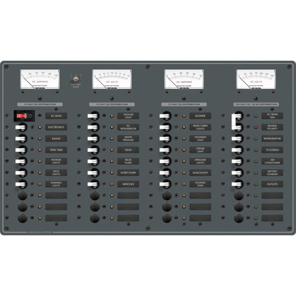 Blue Sea 8095 AC Main +8 Positions / DC Main +29 Positions Toggle Circuit Breaker Panel   (White Switches) [8095] - Point Supplies Inc.