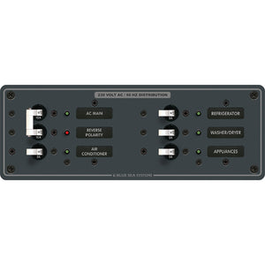 Blue Sea 8199 AC Main + Branch A-Series Toggle Circuit Breaker Panel (230V) - Main + 4 Position [8199] - Point Supplies Inc.
