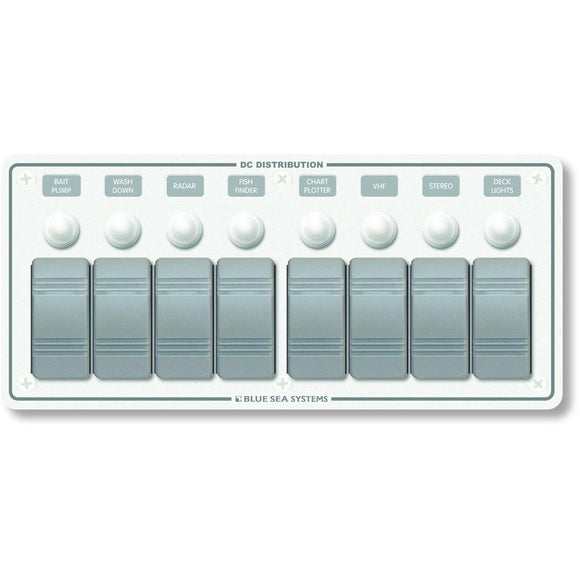 Blue Sea 8271 Water Resistant Panel - 8 Position - White - Horizontal Mount [8271] - Point Supplies Inc.