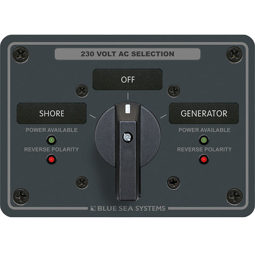 Blue Sea 8357 AC Rotary Switch Panel 65 Ampere 2 Position + OFF, 2 Pole [8357]-Blue Sea Systems-Point Supplies Inc.