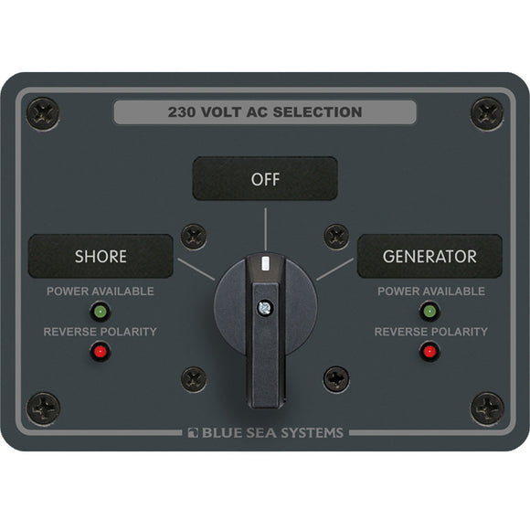 Blue Sea 8359 AC Rotary Switch Panel 30 Ampere 2 Positions + OFF, 2 Pole [8359] - Point Supplies Inc.