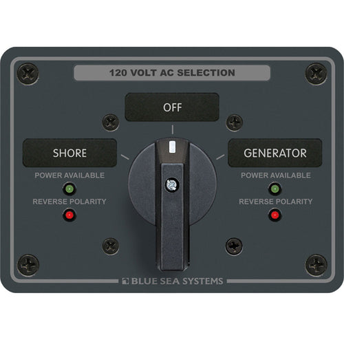 Blue Sea 8365 AC Rotary Switch Panel 65 Ampere 2 Positions + OFF, 2 Pole [8365]-Blue Sea Systems-Point Supplies Inc.
