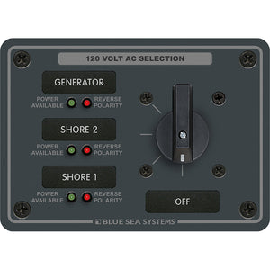 Blue Sea 8366 AC Rotary Switch Panel 30 Ampere 3 Positions + OFF, 2 Pole [8366] - Point Supplies Inc.