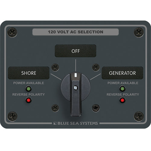 Blue Sea 8367 AC Rotary Switch Panel 30 Ampere 2 Positions + OFF, 2 Pole [8367]-Blue Sea Systems-Point Supplies Inc.