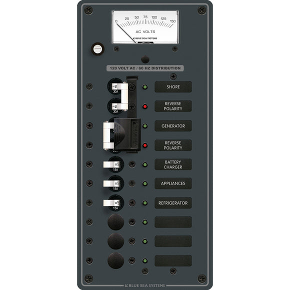 Blue Sea 8489 Breaker Panel - AC 2 Sources + 6 Positions - White [8489] - Point Supplies Inc.