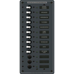 Blue Sea 8580 AC 13 Position 230v (European) Breaker Panel (White Switches) [8580] - Point Supplies Inc.