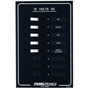 Paneltronics Standard DC 8 Position Breaker Panel w/LEDs [9972204B] - Point Supplies Inc.