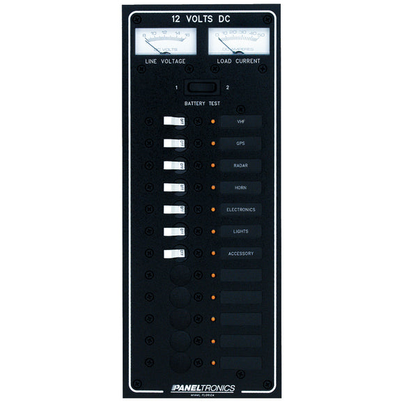 Paneltronics Standard DC 12 Position Breaker Panel w/LEDs [9972220B] - Point Supplies Inc.