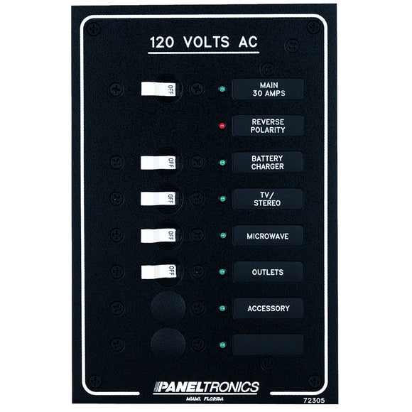 Paneltronics Standard AC 6 Position Breaker Panel & Main w/LEDs [9972305B] - Point Supplies Inc.