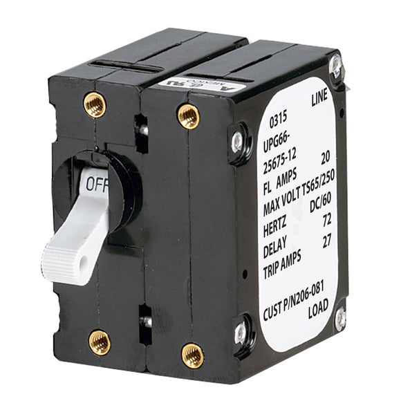 Paneltronics 'A' Frame Magnetic Circuit Breaker - 20 Amps - Double Pole [206-081S] - Point Supplies Inc.