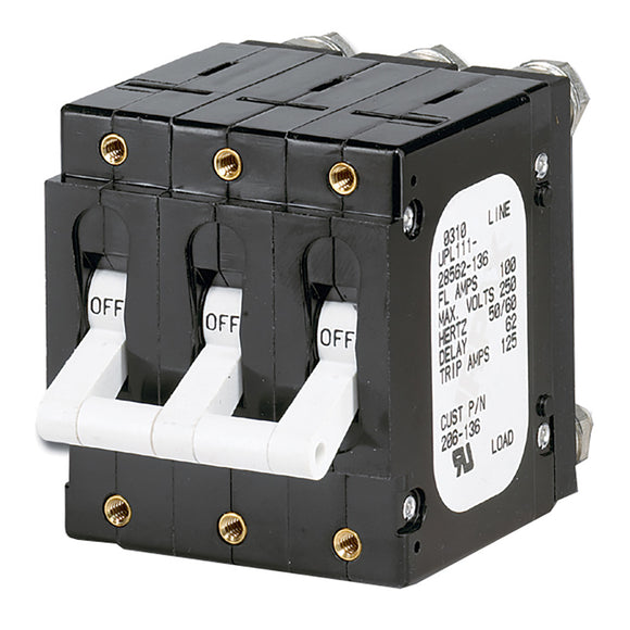 Paneltronics 'C' Frame Magnetic Circuit Breaker - 100 Amp - Triple Pole - White [206-136] - Point Supplies Inc.