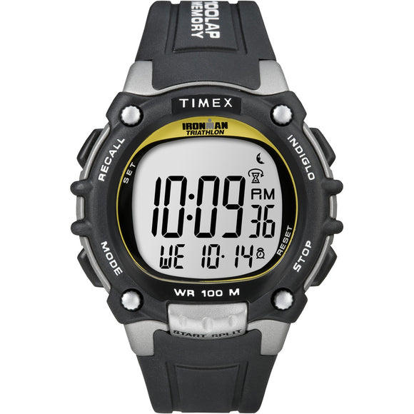 Timex Ironman Traditional 100-Lap - Black/Silver/Yellow Watch [T5E231] - Point Supplies Inc.