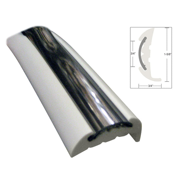 TACO Semi-Rigid Rub Rail Kit - White w/Flex Chrome Insert - 70' [V11-9811WCM70-2] - Point Supplies Inc.