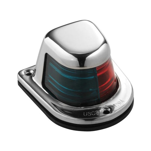 Attwood 1-Mile Deck Mount, Bi-Color Red-Green Combo Sidelight - 12V - Stainless Steel Housing [66318-7] - point-supplies.myshopify.com