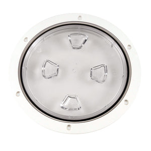 "Beckson 8"" Clear Center Screw-Out Deck Plate - White [DP80-W-C] - Point Supplies Inc."