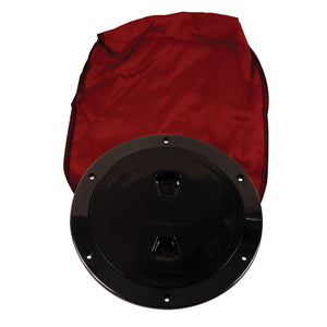"Beckson 6"" Stow-Away Deck Plate - Black w/12"" Bag [DP60BB] - Point Supplies Inc."